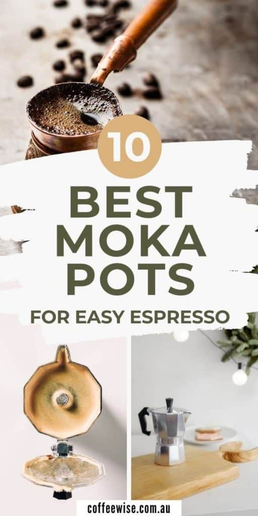 three images of moka pots with text overlay best moka pots for easy espresso