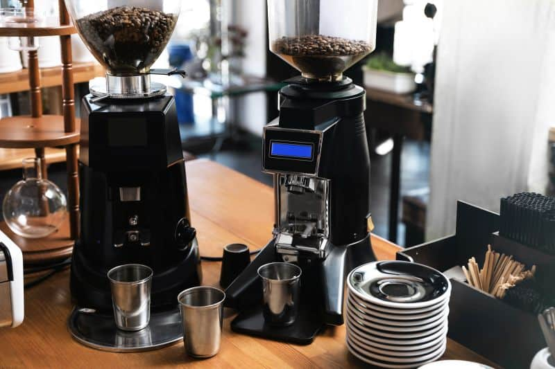 electric coffee grinders on table
