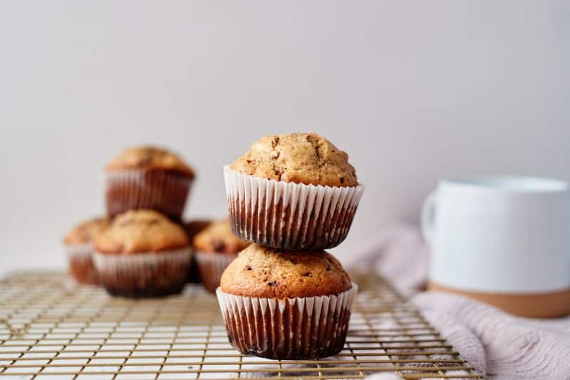 cappuccino mocha muffins stacked on tray