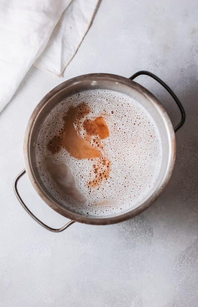 prepare panna cotta coffee dessert in bowl