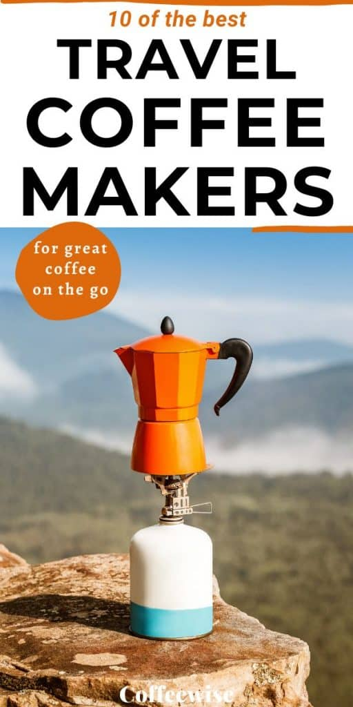 Portable coffee maker on gas outdoors
