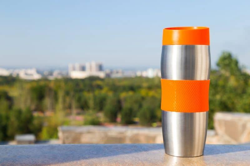 Vacuum flask outdoors