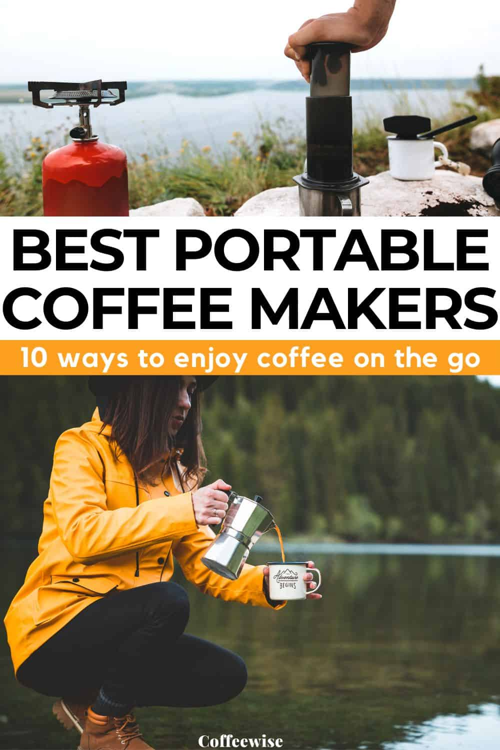 two images of travel coffee makers outdoors with text Best portable coffee makers
