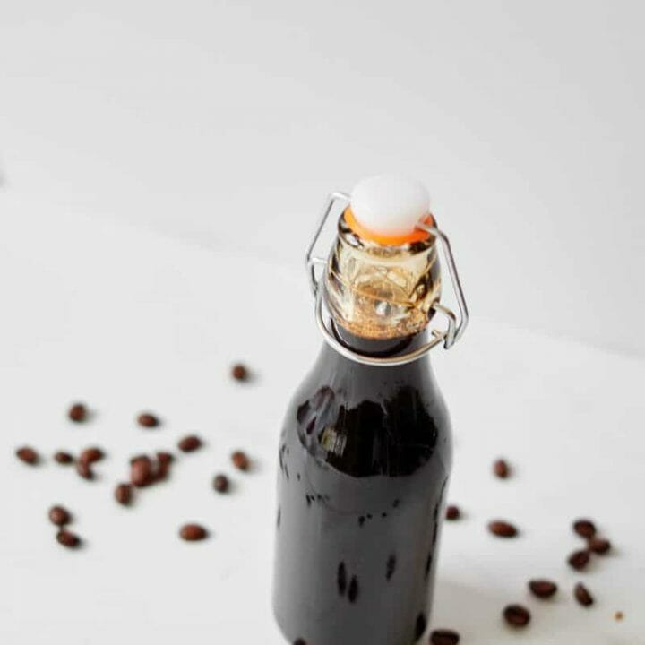 thick coffee flavored syrup in a bottle