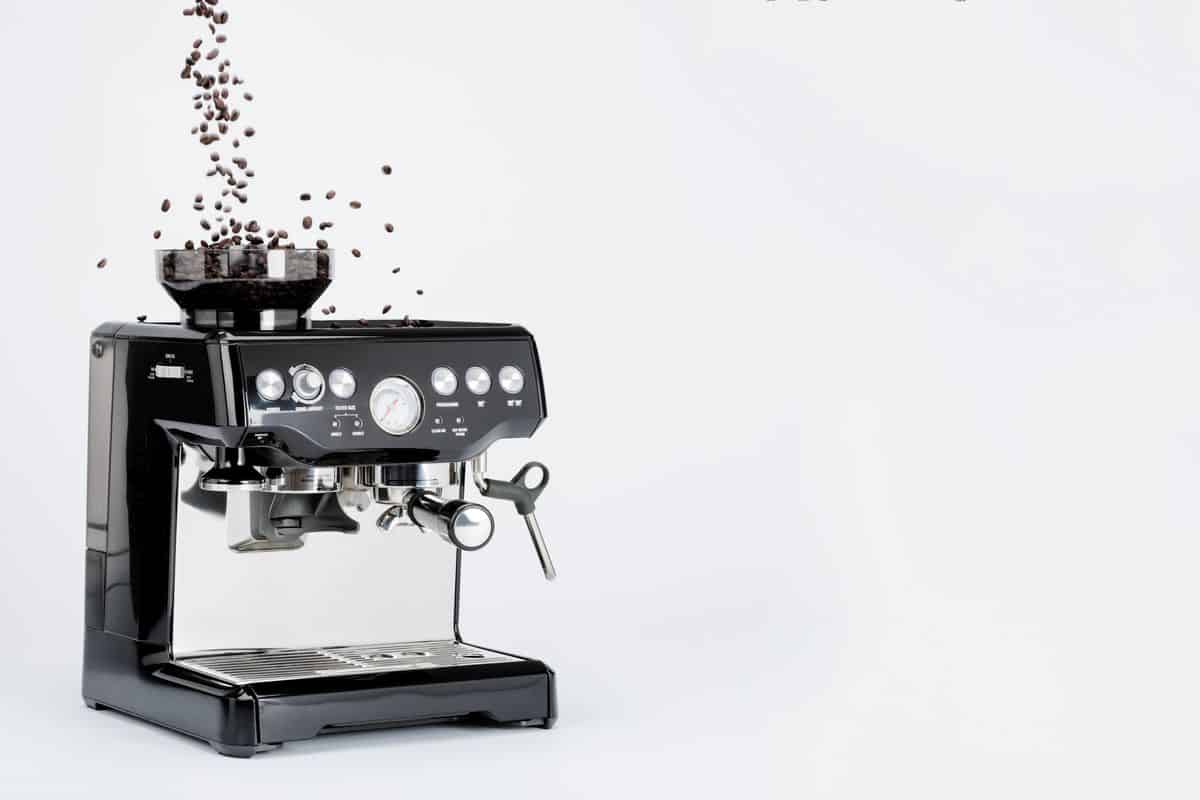 Black semi automatic coffee machine with grinder