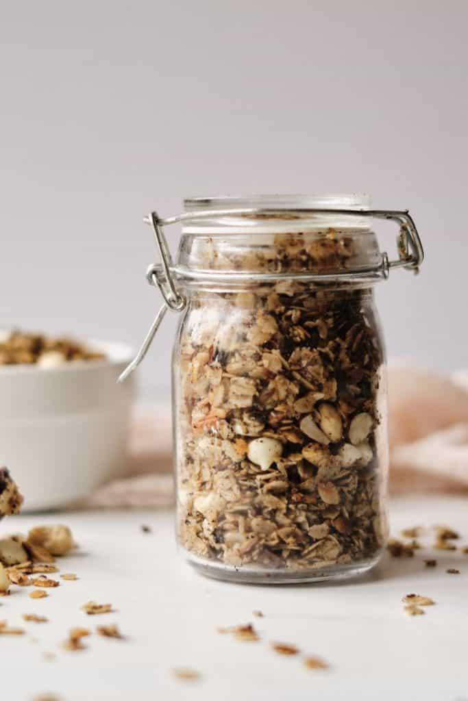 dark chocolate almond granola in jar