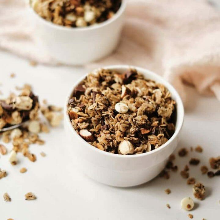 mocha granola in bowl