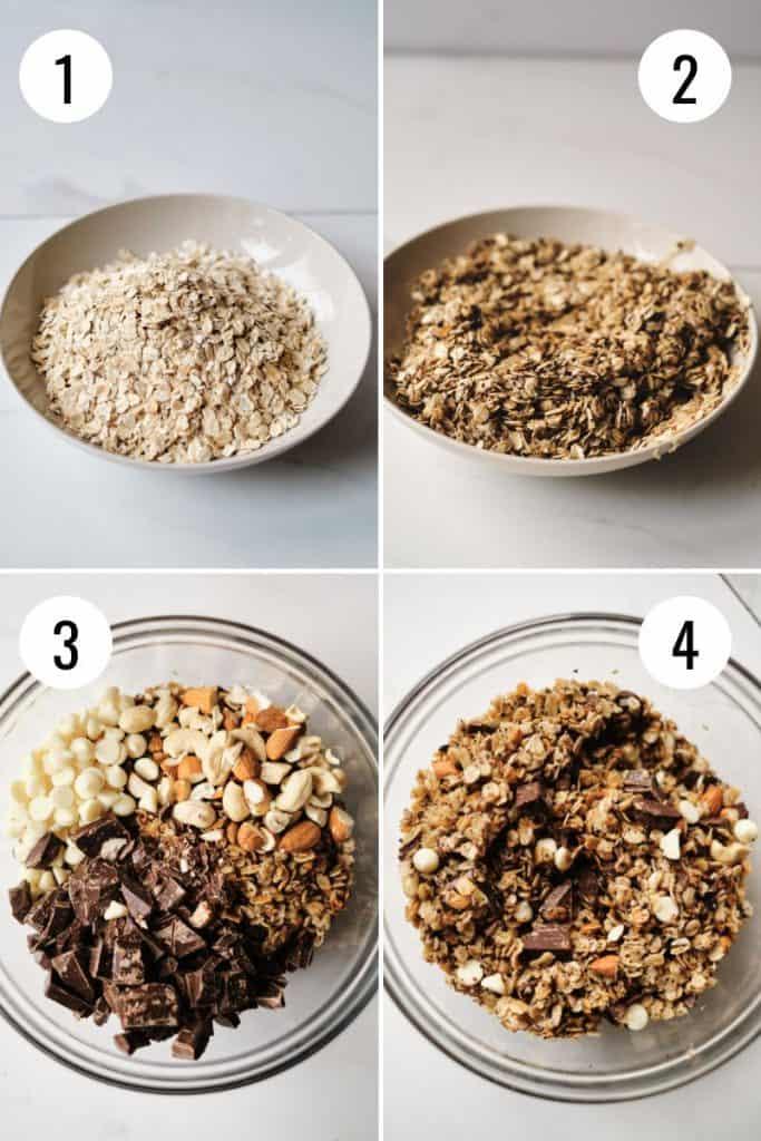 process shots for how to make granola recipe