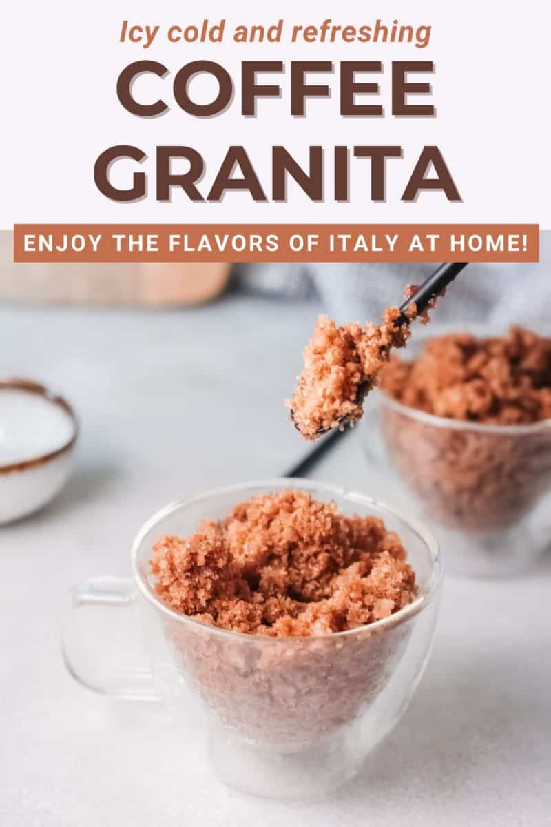 closeup of granita coffee in cup with text overlay Coffee Granita