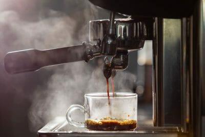 home espresso machine making espresso