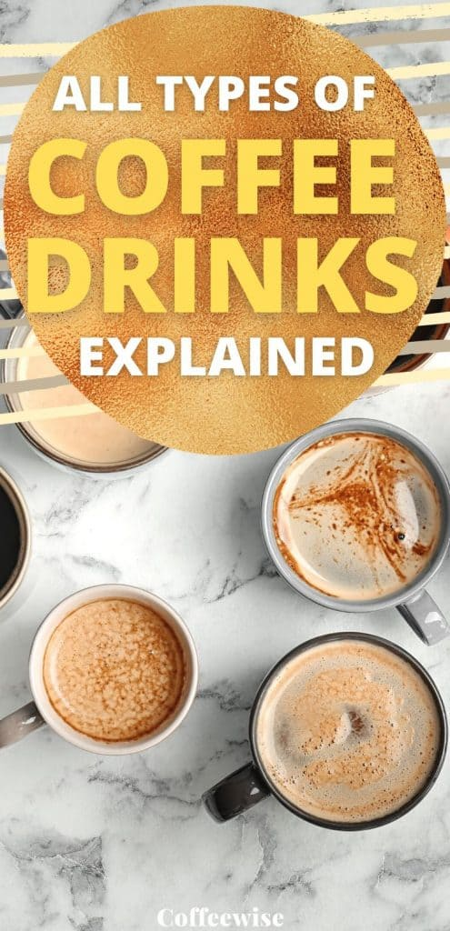 "cups of coffee with text overlay ""all types of coffee drinks explained"""