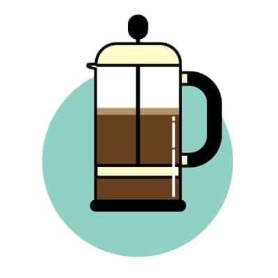 French press brewing methods icon