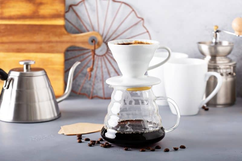 Pour over coffee maker, carafe and gooseneck kettle